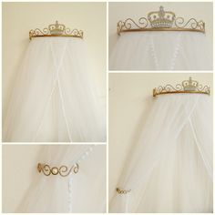 Promoção Dossel Real Pérolas e Arabescos Baby Bedroom, Nursery Room, Girls Bedroom, Girl Nursery, Baby Decor, Kids Decor, Bed Crown Canopy, Baby Doll Bed, Ideas Dormitorios