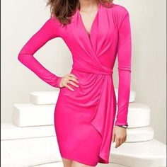 Victoria's Secret Pink Wrap Bed Dress is brand new. It's like a soft jersey material. Dress is stretchy. Hot pink and beautiful! Victoria's Secret Dresses Long Sleeve