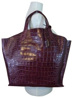 f5fbf568d523 Furla Croc Large Jucca Burgundy Embossed Leather Tote 15% off retail