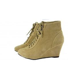 WEDGES BOOTS HIGH ANKLE SUEDE FINISH KHAKI ONLINE IRELAND