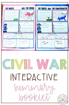 Explore the U.S. American Civil War with this summary booklet. Students will review the causes of the Civil War, the advantages of the Union and Confederates, the major battles, the major generals, and the life of soldiers, slaves, and women during the war. Social Studies Curriculum, Social Studies Activities, Teaching Social Studies, Teaching Writing, Teaching Science, Teaching Tips, Teacher Lesson Plans, Teacher Resources, Upper Elementary Resources