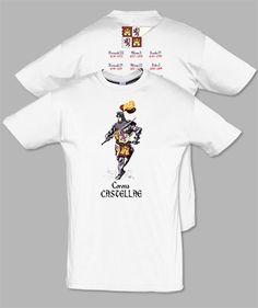 Camiseta serie caballeros: Corona Castellae. Diseñada por Escobar.