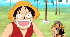 Luffy & Usopp as soon as I clicked this gif We Will Rock You started playing it was confusing lol