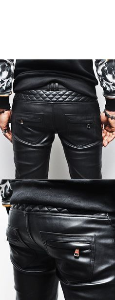Bottoms :: Pants :: F/W Homme Full Leather Quilt Biker Skinny-Pants 103 - Mens Fashion Clothing For An Attractive Guy Look - clothing, grunge, travel, school, moda, men clothes *ad