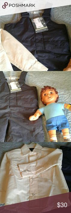 3 Piece New Snow Suit, Shirt, Doll Sale Now Brand New Baby Yellow Cowboy Shirt  Gran Lider size 2 and Snow Coveralls fully Lined and Very Warm size 2Tall, and Boy Doll. Ski Overalls Jackets & Coats Raincoats