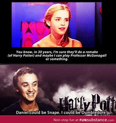 When Hermione become Professor McGonagall.and Draco become Dumbledore.and Harry becomes Snape I don't want this to happen! They can't remake Harry Potter! Harry Potter Cast, Harry Potter Love, Harry Potter Fandom, Funny Harry Potter, Harry Potter Draco Malfoy, James Potter, Ron Et Hermione, Ron Weasley, Hermione Granger