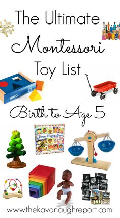 The Ultimate Montessori Toy List -- Birth to Five. Montessori friendly toy suggestions for babies, toddlers and preschoolers. Natural choices for families on every budget. toddler toys The Ultimate Montessori Toy List -- Birth to Five -- UPDATED 2017 Montessori Playroom, Montessori Preschool, Montessori Education, Toddler Preschool, Montessori Baby Toys, Baby Education, Montessori Toddler Bedroom, Waldorf Playroom, Baby Playroom