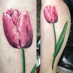 "39 Likes, 1 Comments - Tiger Bomb Tattoo (@kumaink) on Instagram: ""Had a blast with this tulip tattoo today. #tuliptattoo #flowertattoo #eternalink #tigerbomb"""