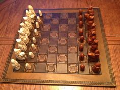Beautiful brown on brown leather chessboard. Hand tooled with complimentary border. Alternate squares hand painted chocolate.