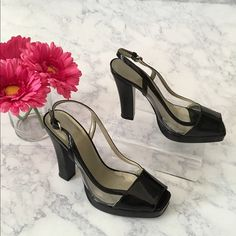 """Nine West Shoes Black Patent & Clear upper with 4 & 1/4"""" stack heel.  Only worn one time. Nine West Shoes Heels"""