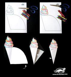 Color, Cut & Create Ice-cream Cute Crafts, Diy And Crafts, Crafts For Kids, Arts And Crafts, Art Drawings For Kids, Art For Kids, Puppet Crafts, Cafe Art, Art N Craft