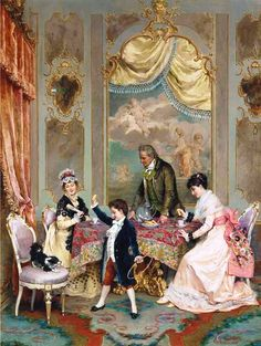 Opium for Chinese silver. Silver for tea. Tea for British taxes to fill the government's coffers. Tea Time by Angelo Martinetti (Italian Tee Kunst, Munier, 18th Century Clothing, Victorian Art, Victorian Fashion, Mystery Of History, Tea Art, Couple Art, Wall Art Sets