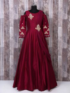 Maroon Color Wedding Wear Gown, Peach Color Designer Net Gown, Wedding gown, wedding wear gown, net gowns, reception gown, wedding dress, indian wedding gown, indian gown, indian fashion, indian wedding,