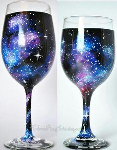 Hand Painted Cosmos Wine Glasses; Galaxy glass, 21st birthday, wedding glasses, nerd wedding, geek wedding, hand painted wine glasses on Etsy, $32.00