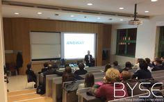 La presentazione di Simone Ferri e del suo progetto, Andway, durante il secondo pitch di byse (Bocconi Young Students Entrepreneurs)