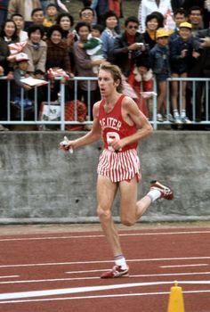 Bill Rodgers, USA, winning the 1978 Fukuoka Marathon, Fukuoka, Japan. Road Running, Running Gear, Marathon Running, Steve Prefontaine, Cross Country Running, Usain Bolt, Cute White Boys, Fastest Man, Running Motivation