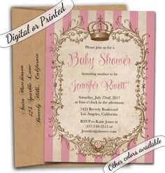 New To CupidDesigns On Etsy: Vintage Baby Shower Invitation. Girl Shower  Invitation. Princess