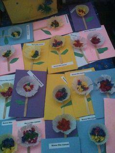 Cartes de la fête des mères. Réalisées par mes 1ère année