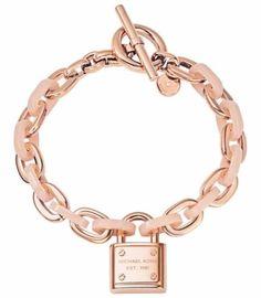 Michael Kors Mkj4326791 Rose Gold Tone Blush Acetate Padlock Chain Link Bracelet