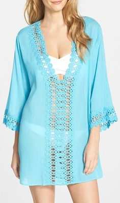 Women's La Blanca Crochet Trim Cover-Up Casual Summer Outfits, Casual Dresses, Cute Outfits, Beach Dresses, Summer Clothes, Casual Wear, Hairpin Lace Crochet, Crochet Trim, Crochet Cover Up