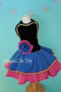 Anna Frozen Full DressUp Apron Costume by ModernChicTots on Etsy, $105.00
