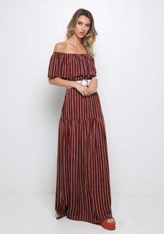 Έξωμο ριγέ μάξι φόρεμα Shoulder Dress, Pants, Dresses, Fashion, Trouser Pants, Vestidos, Moda, Fashion Styles, Women's Pants