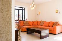 Decoración de interiores en tonos naranjas