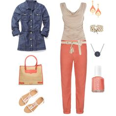 Springtime Coral and Denim, created by maggiesuedesigns on Polyvore