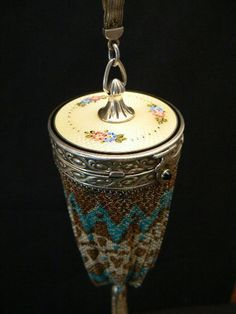 ANTIQUE Mesh lantern purse compact sterling silver art deco exceptional Thomae