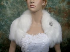 Ivory faux fur bolero faux fur shrug Wedding bolero by alexbridal, $89.99