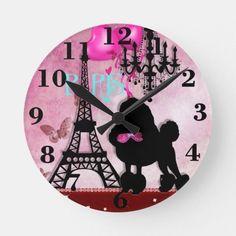 Shop French Paris Girly Chic Poodle Eiffel Tower Damask Round Clock created by _Angelique_. Paris Room Decor, Paris Rooms, Paris Bedroom, Paris Theme, Paris Bedding, Parisian Room, Bedroom Apartment, Bedroom Decor For Teen Girls, Teen Girl Rooms