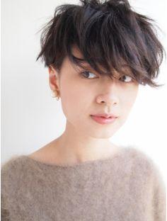 ナヌーク シブヤ(nanuk shibuya)黒髪で『エッジ感』のあるクセ毛風ツーブロックショート◇◇