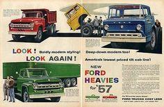 1957-FORD-Trucks-T-800-Dump-Truck-Tilt-Cab-F900-PRINT-AD