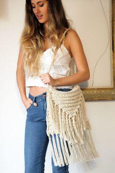 Bags & purses, ecru crochet fringed shoulder bag, natural linen cotton fringed bag, boho chic bag, beige fringe bag, fringes, boho style bag by ThreeBirdsSitting on Etsy https://www.etsy.com/listing/221590810/bags-purses-ecru-crochet-fringed
