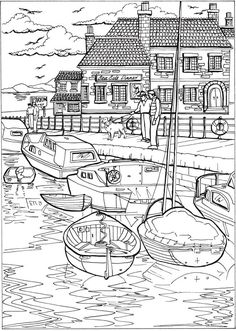 creative summer haven scenes harbour seaside coloring page - Dover Coloring Books For Adults