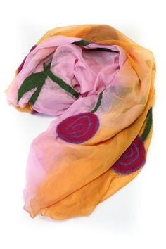 """The perfect wrap or accent scarf! Wrap yourself in soft silk chiffon for any summer occasion whether it be daytime casual or evening cocktail. Soft and light weight. Measurements:72"""" L x 36"""" W   Flower Scarf by Bijoux du Monde. Accessories - Scarves & Wraps District of Columbia"""