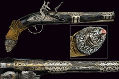 Ottoman flintlock pistol, ca 19th century. Smooth, round, 16 mm cal. barrel decorated with gold and silver inlays; flintlock with engraved decorations; wooden full stock with silver mounts, butt-plate decorated with bas-relieved floral motifs and a cabochon red stone, grooved trigger guard, the counter-plate and the barrel braket pierced and partly engraved, length 38 cm.