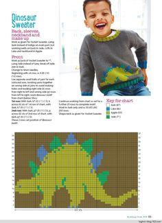 Knitting Crochet from Woman's Weekly September 2017 - 轻描淡写 - 轻描淡写 Crochet Dinosaur Patterns, Animal Knitting Patterns, Fair Isle Knitting Patterns, Knitting Charts, Knitting Stitches, Crochet Baby, Knit Crochet, Dinosaur Sweater, Baby Cardigan Knitting Pattern Free