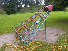 Retro Children's Playground, Thetford, Norfolk.  Rocket ship or delta wing bomber.  Sept 2008 by sludgegulper, via Flickr