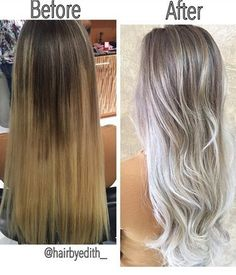 Color correction: spotty blonde to lovely violet ash - hair color - modern salon Grey Blonde, Blonde Color, Asians With Blonde Hair, Ash Blonde Hair Silver, Ice Blonde Hair, Long Gray Hair, Golden Blonde, Golden Brown, Hair Looks