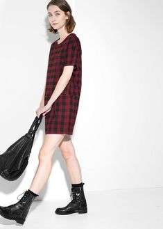 Check shift dress - Dresses for Women Work Chic, Mango Fashion, Striped Dress, Wool Blend, Manga, Fashion Looks, My Style, Womens Fashion, Fashion Women
