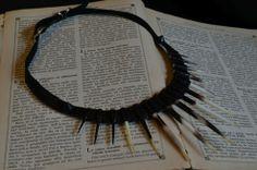 """""""Istrice"""": collana in pelle e punte d'istrice,lavorazione artigianale. www.punkrecycle.it"""