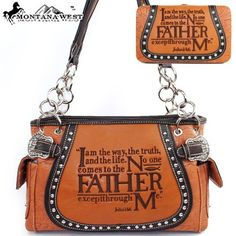 $53.99Amazon.com: Montana West Western Cow Girl Bible Verses Embroidered Rhinestone Studded Buckle Handbag Western Shoulder Purse with Wallet Western Shoulder Purse with Wallet in Camel Brown: Clothing