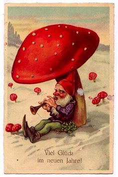 Another dose of vintage wintry amanita scenes, with lots of gnomes. Vintage Christmas Cards, Vintage Cards, Vintage Postcards, Fairy Land, Fairy Tales, Illustrations, Illustration Art, Kobold, Elves And Fairies
