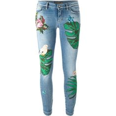 Dolce & Gabbana patch jeans ($2,995) ❤ liked on Polyvore featuring jeans, pants, bottoms, trousers, denim, blue, blue skinny jeans, patterned skinny jeans, print skinny jeans and skinny fit jeans