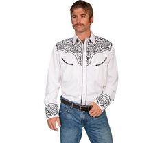 Buy Scully Men's Fancy Full Stitched Retro Western Shirt Big And Tall - P-815X White - Topvintagestyle.com ✓ FREE DELIVERY possible on eligible purchases