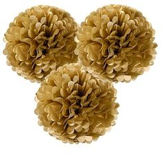 Three Gold Metallic Pom Poms. Fill your room with glitz and glamour with these gold fluffy paper pom poms! Go large and make an impact in your space by scattering them above the dining table, create an arrangement to highlight the dance floor or simply use them to glam up any boring corner of the house. Ideal for adding style to you're wedding, christmas and New Year party, hen parties, or any other celebratory occasion. #pompoms #partydecorations #christmas