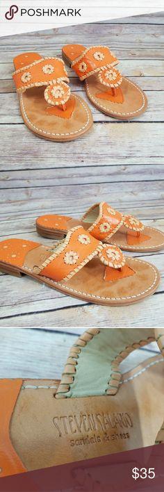 "Steven Salario 8.5 Orange Sandals Shoes Women's 8.5 Steven Salario orange sandals in great condition with minor ""shadow print"".  Super cute!  From a smoke free home! Steven Salario Shoes Sandals"