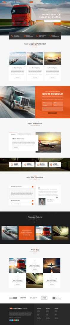 Leigh Formoso saved to 7Seven Graphic Design: Websites Prime Trans can be usd for any tipe of #logistics and transport companies. This is powerful PSD #template with tons of customization options and features.We have created 13 #PSD files, which you can change and customize easily. 3 Home page layouts included and inner pages. Also you can find blog, Portfolio and Shop Designs, loop and inner. We hope you will like our hard work.