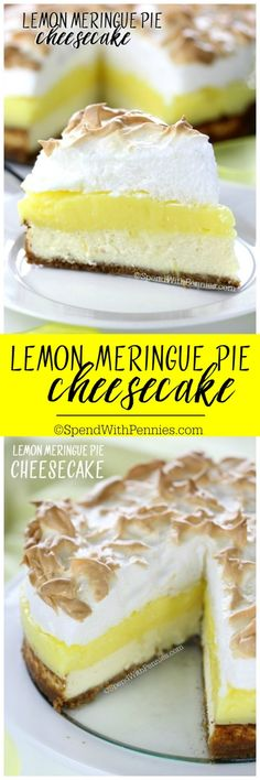 Lemon Meringue Pie Cheesecake! A graham cracker crust, fresh tart lemon filling & a fluffy meringue topping combined with a rich cheesecake! This dessert will definitely top your list!